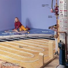 In a hydronic radiantfloor heating system PEX tubing carries the