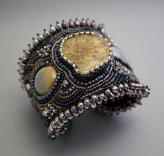 SEA GROTTO bead embroidered cuff bracelet by Keren N