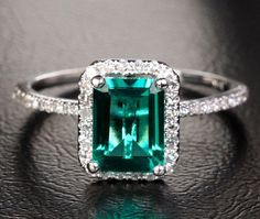 2.56ct Emerald Ring Solid 14k White Gold Diamond Halo Engagement Ring Wedding Ring, Same Day USA Shipping on Etsy, $379.00