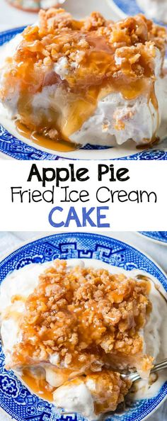 Apple pie fried ice cream cake with caramel sauce and a crunchy. Apple pie fried ice cream cake with caramel sauce and a crunchy topping without any frying at all! via Sweet Basil No Dairy Recipes, Apple Recipes, New Recipes, Cooking Recipes, Amazing Recipes, Sweet Recipes, Favorite Recipes, Healthy Dinner Recipes, Cinco De Mayo