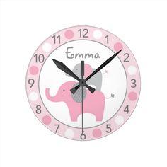 Mod Pink Elephant Personalized Nursery Wall Clock