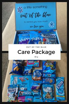 This Out of the Blue Care Package is perfect for college students, friends, and military personnel! Bonus: There is a free printable in the post! Birthday Gifts For Boyfriend Diy, Cute Boyfriend Gifts, Boyfriend Gift Basket, Cute Birthday Gift, Birthday Gifts For Best Friend, Best Friend Gifts, 21st Birthday, College Gifts, College Care Packages