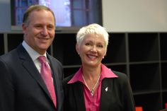 Prime Minister John Key with Principal Catherine Wouters