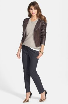 Free shipping and returns on Halogen® Leather & Suede Jacket, Cashmere Sweater & 'Taylor' Pants at Nordstrom.com.