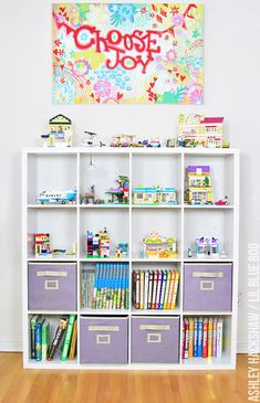 Lego storage and DIY display ideas. How to store legos and display built sets in an attractive way. Store Legos out in the open and without plastic bins.