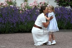Princess Estelle of Sweden and Crown Princess Victoria of Sweden pose during the Birthday celebrations of Crown Princess Victoria of Sweden at Solliden Palace on July 14, 2016 in Oland, Sweden.
