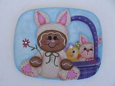 HP Gingerbread Easter Bunny Vintage Metal Trivet Plaque Sign Shelf Sitter in Crafts, Handcrafted & Finished Pieces, Handpainted Items | eBay