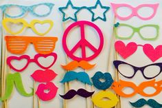 20 Piece Neon photobooth, Photo Booth Props, Mustaches and Lips, Props on a…