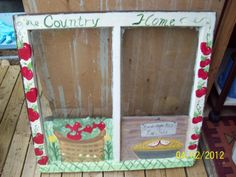Country Apple Theme Hand Painted Window I just finished