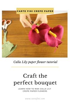 Learn within 10 minutes how to make a Calla Lily paper flower. This step-by-step DIY video teaches you everything. Crepe Paper Flowers Tutorial, Paper Flowers Diy, Diy Paper, Calla Lily Bouquet, Bridal Bouquets, Craft Tutorials, Diy Tutorial, Wedding Flowers, Wedding Decorations