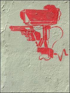 Chloe- street art 000 - The idea of sight becoming a weapon Stencil Street Art, Stencil Art, Stencils, Graffiti Artwork, Street Art Graffiti, Best Street Art, Political Art, Outdoor Art, Chalk Art