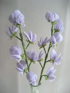 Purple Sweet Pea   French Beaded Flower by eillie00 on Etsy, $52.00.  Wirework.