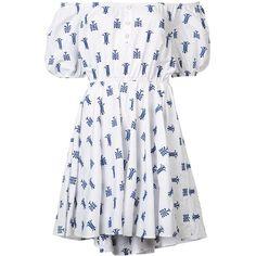 Caroline Constas Bardot Puff Sleeve Mini Dress ($495) ❤ liked on Polyvore featuring dresses, vestidos, kirna zabete, kzloves /, new bohemian, short dresses, white dress, short sleeve cotton dress, off the shoulder dress and white off shoulder dress