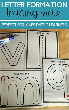 Preschool and kindergarten kinesthetic learning activity! Young students will love this hands on letter tracing activity that can be done on a tablet, on paper, put on the whiteboard and practice letter writing in air and more! This multi-sensory activity will have your students learning while moving! The perfect hands on, kinesthetic tracing mats for young learners! Preschool Writing, Kindergarten Activities, Writing Activities, Teaching Resources, Preschool Alphabet, Alphabet Crafts, Alphabet Activities, Alphabet Letters, Writing Ideas