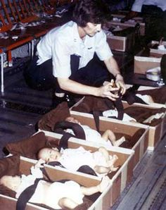 Operation Babylift mass evacuation of orphans from South Vietnam to the United States and other countries (including, for example, Australia) at the end of the Vietnam War during April 1975. By the final American flight out of South Vietnam, over 2,000 infants and children had been evacuated.