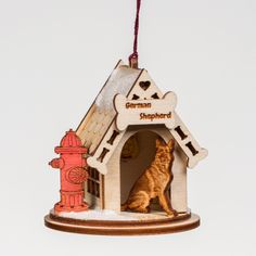 Handmade German Shepherd Dog House Ornament