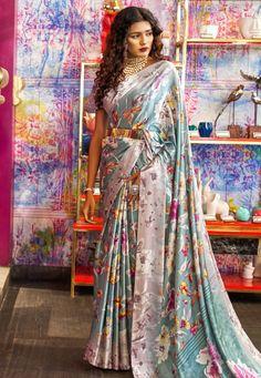 Gray Crepe Saree With Blouse 182374 Blue Lehenga, Lehenga Style, Floral Print Sarees, Printed Sarees, Crepe Saree, Sari Dress, Wrap Around Skirt, Indian Sarees Online, Indian Bollywood Actress