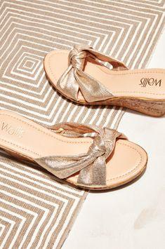 49b31341b55b Gold Knot Detail Wedge Heel Sandal