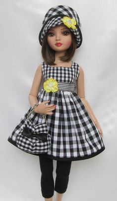 """ELLOWYNE'S BLACK & WHITE DELIGHT OUTFIT! FOR 16""""ELLOWYNE, ETC.MADE BY SSDESIGNS"""