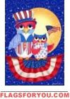 This patriotic owls decorative flag is very cute. This garden flag by Custom Decor features a pair of owls proudly displaying red white and blue. It measures X and is viewable from both sides. 4th Of July Celebration, Fourth Of July, Patriotic Images, Patriotic Crafts, Flag Holder, Garden Owl, Flag Shop, Independance Day, Star Background