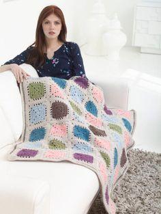 Vintage Hues Granny Afghan By Miwa Nishio - Free Crochet Pattern - (joann.lionbrand)