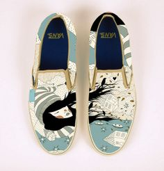 Custom Shoe Illustrations by Gizem Vural, via Behance Custom Shoes, Custom Clothes, Diy Fashion, Fashion Jewelry, Painted Sneakers, New Shoes, Designer Shoes, Me Too Shoes, Cool Designs