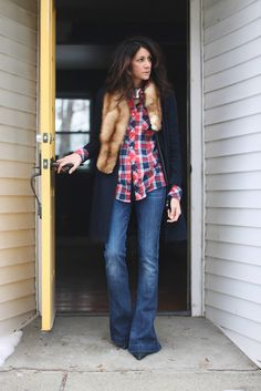 plaid and fur and flares
