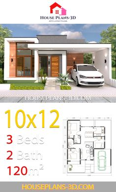 Design styles House design with 3 Bedrooms Terrace Roof - House Plans Sims House Plans, House Layout Plans, Family House Plans, Small House Plans, House Layouts, Modern Small House Design, Simple House Design, Minimalist House Design, Small Modern Houses