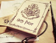 "Harry Potter Notebook with ""Hogwarts"" letter by LRsWorkshop on Etsy https://www.etsy.com/ca/listing/225175297/harry-potter-notebook-with-hogwarts"