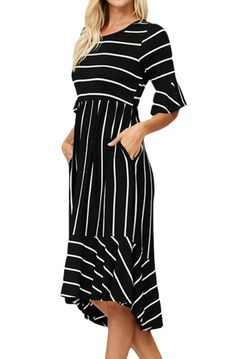 online shopping for Shilanmei Womens Striped Midi Dress 3 4 Sleeve Scoop Elastic Waist Casual With Dresses For Women from top store. See new offer for Shilanmei Womens Striped Midi Dress 3 4 Sleeve Scoop Elastic Waist Casual With Dresses For Women Striped Midi Dress, Ruffle Dress, Ruffle Sleeve, Ruched Dress, Midi Dress With Sleeves, Half Sleeves, Robes Midi, Stripped Dress, Black White Stripes
