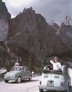 Fiat Nuova 500. Servizio pubblicitario alle Dolomiti, 1957, Italia, Torino   #TuscanyAgriturismoGiratola