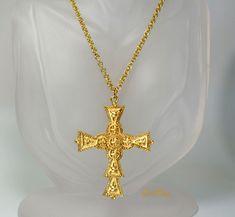 Large Herringbone Design Cross Pendant with Black Rhinestone Accents