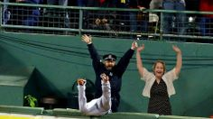 This is an image of my english teacher photoshopped next to the famous bullpen cop. In order to do this I had to take a picture of my teacher, load it onto photoshop, then select her out of it. Then I copied the selection into the photo and resized it to fit.