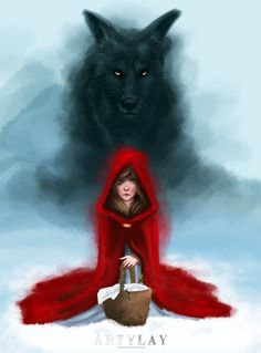 Little Red Riding Hood and the Big Bad Wolf Red Riding Hood Wolf, Little Red Ridding Hood, Big Bad Wolf, Red Hood, Werewolf, Native American Indians, Dark Art, Urban Art, Fantasy Art