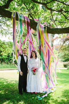 Colourful Ribbon Background Backdrop Wedding Ceremony http://www.paperangelphotography.co.uk/