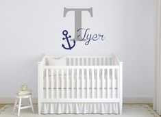 Boy Name Wall Decal Nautical Nursery Decals By Ponydecal Pinterest Nurseries And Walls