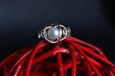 Anello perla in argento 925 con perla d'acqua dolce. Misura 14,5 intreccio bolle fatto a mano made in Italy