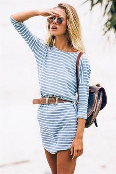Summer look | Blue and white belted striped dress with round sunglasses