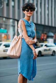 What could be more easy that throwing on a shirt dress for work? Can easily be dressed up or down to suite your office dress code and perfect to keep cool on a hot day.
