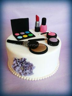 Fashion cake Makeup Birthday Cakes, Birthday Cake Girls, Girly Cakes, Cute Cakes, Fondant Cakes, Cupcake Cakes, Diva Cakes, 18th Cake, Make Up Cake