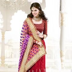 Peach and Red Lehenga Style Saree with Blouse