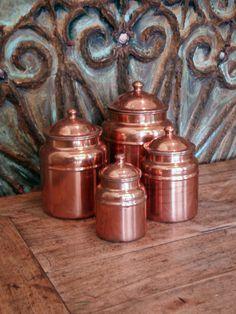 Vintage Copper Canisters. Set of Four. Kitchen Storage. Vintage Farmhouse Kitchen