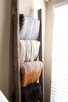 old ladder= blanket storage!!!