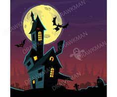 Items similar to Spooky old ghost house. Halloween background with scary mansion, full moon, ghosts and bats. Vector isolated on Etsy