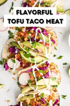 Easy Tofu Taco Meat- this vegan taco meat is made with tofu crumbles and quinoa. Its easy to throw together and SO TASTY! Best Tofu Recipes, Great Recipes, Vegan Recipes, Cooking Recipes, Tofu Tacos, Vegan Dinners, Family Meals, Quinoa, Breakfast Recipes