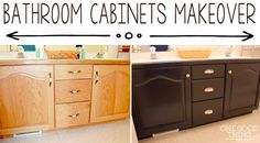 Bathroom cabinets makeover with General Finish Java Gel Stain. Furniture Makeover, Diy Furniture, Do It Yourself Videos, Bathroom Cabinets, Stain Cabinets, Refinish Cabinets, Cabinet Refinishing, Kitchen Cabinets, Cabinet Stain