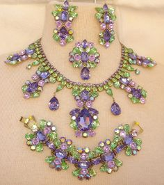 Gorgeous Swarovski Purple and Green Rhinestone Necklace, Bracelet, Pin and Earrings by Elizabeth Cooke