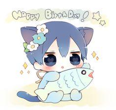 Happy Birthday Haru ...  From nrmimi_ ... Free! - Iwatobi Swim Club, free!, iwatobi, haruka, nanase, haru, haru nanase, haruka nanase, saba, mackerel, cat, neko