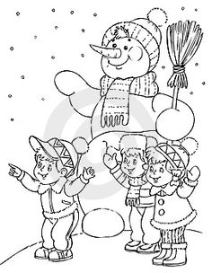 Snow Man Coloring Pages Winter Christmas For Kids