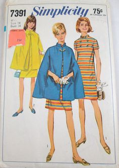 Vintage sewing pattern Simplicity 7391 cape and dress sz 14 dated 1967